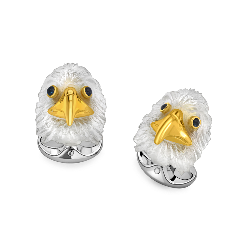 Sterling Silver Bald Eagle Cufflinks With Sapphire Eyes
