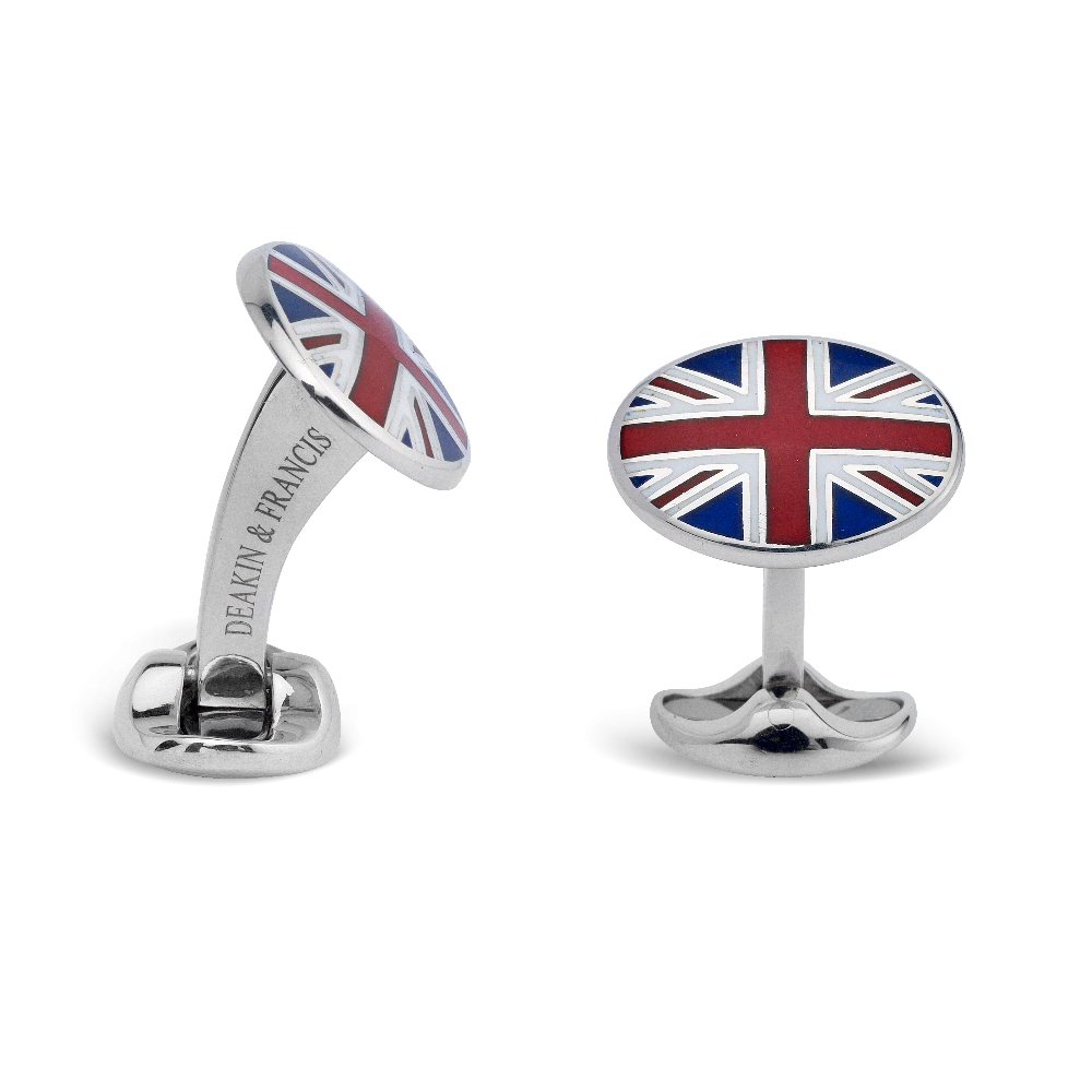 Union Jack Sterling Silver and Enamel Oval Cufflinks