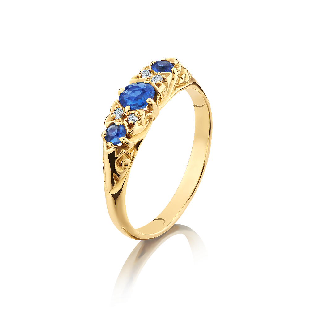 Sapphire and Diamond Carved Hoop Ring