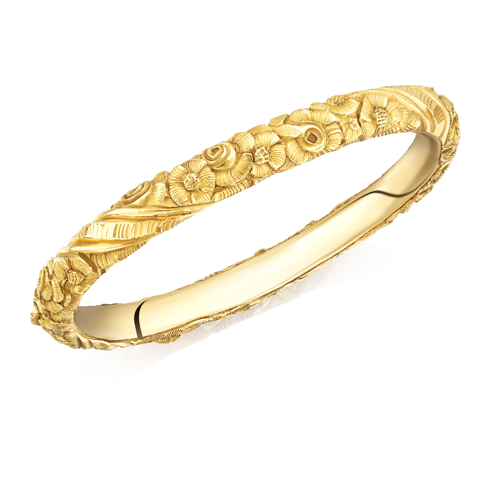 Embossed and Chased 18ct Yellow Gold Bangle