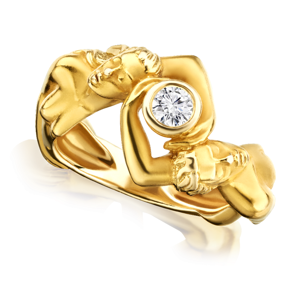 Art Nouveau Design 18ct Yellow Gold Ring