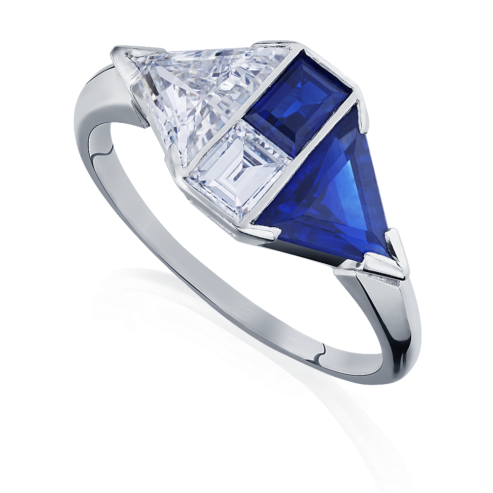 Art Deco Kite Shape Sapphire and Diamond Ring