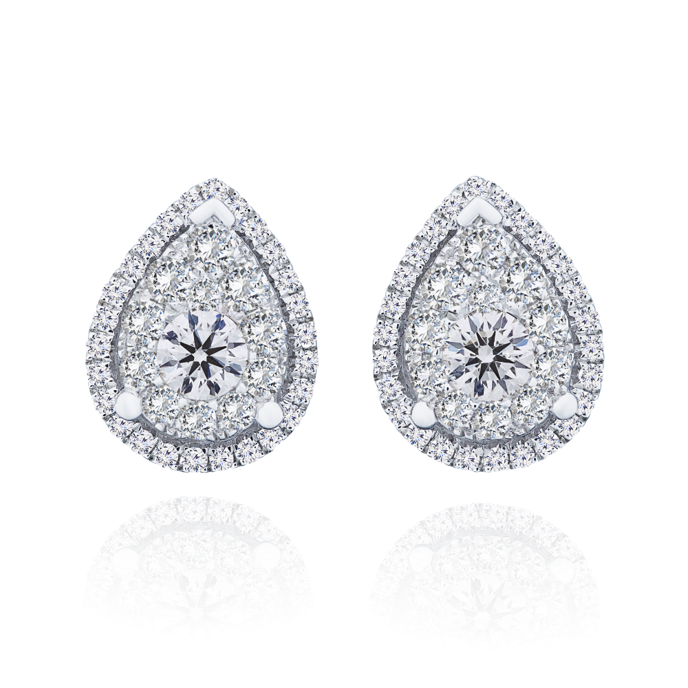 Pear Shape Pavé Set Diamond Earrings