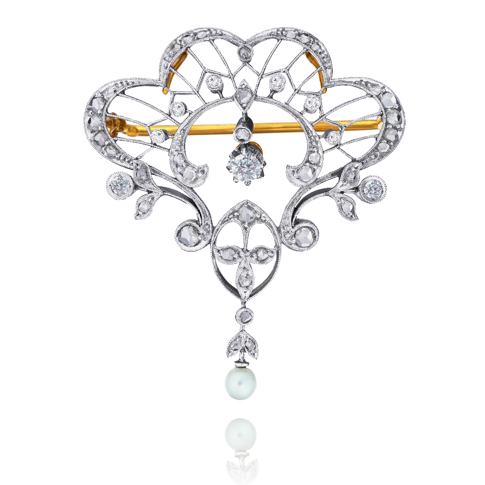 Art Nouveau Diamond and Pearl Brooch/Pendant