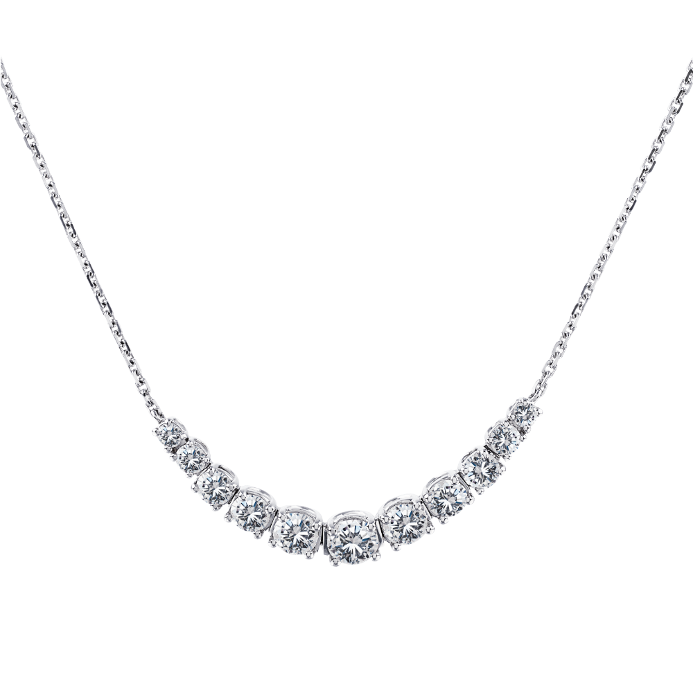Graduated Diamond Crescent Shape Necklet
