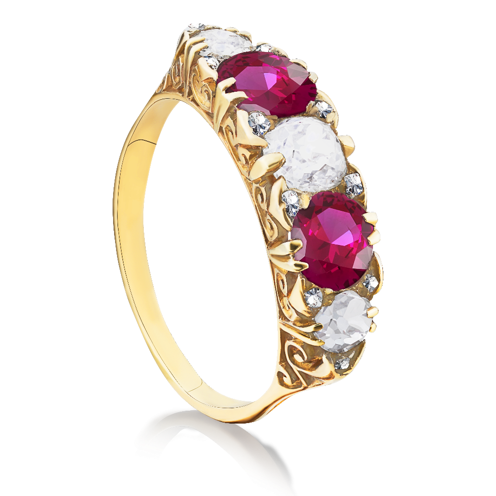 Graduated Ruby and Diamond Five Stone Ring