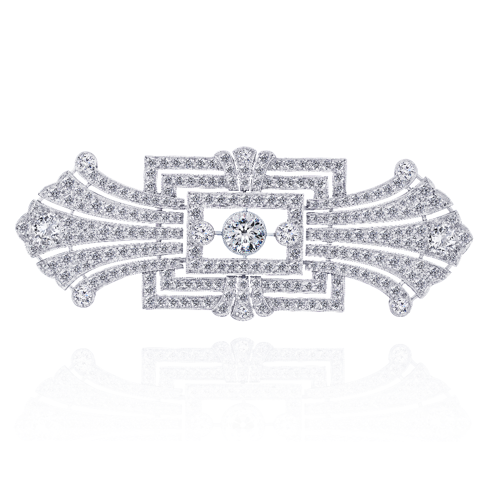 Art Deco Diamond Set Bow Brooch/ Pendant