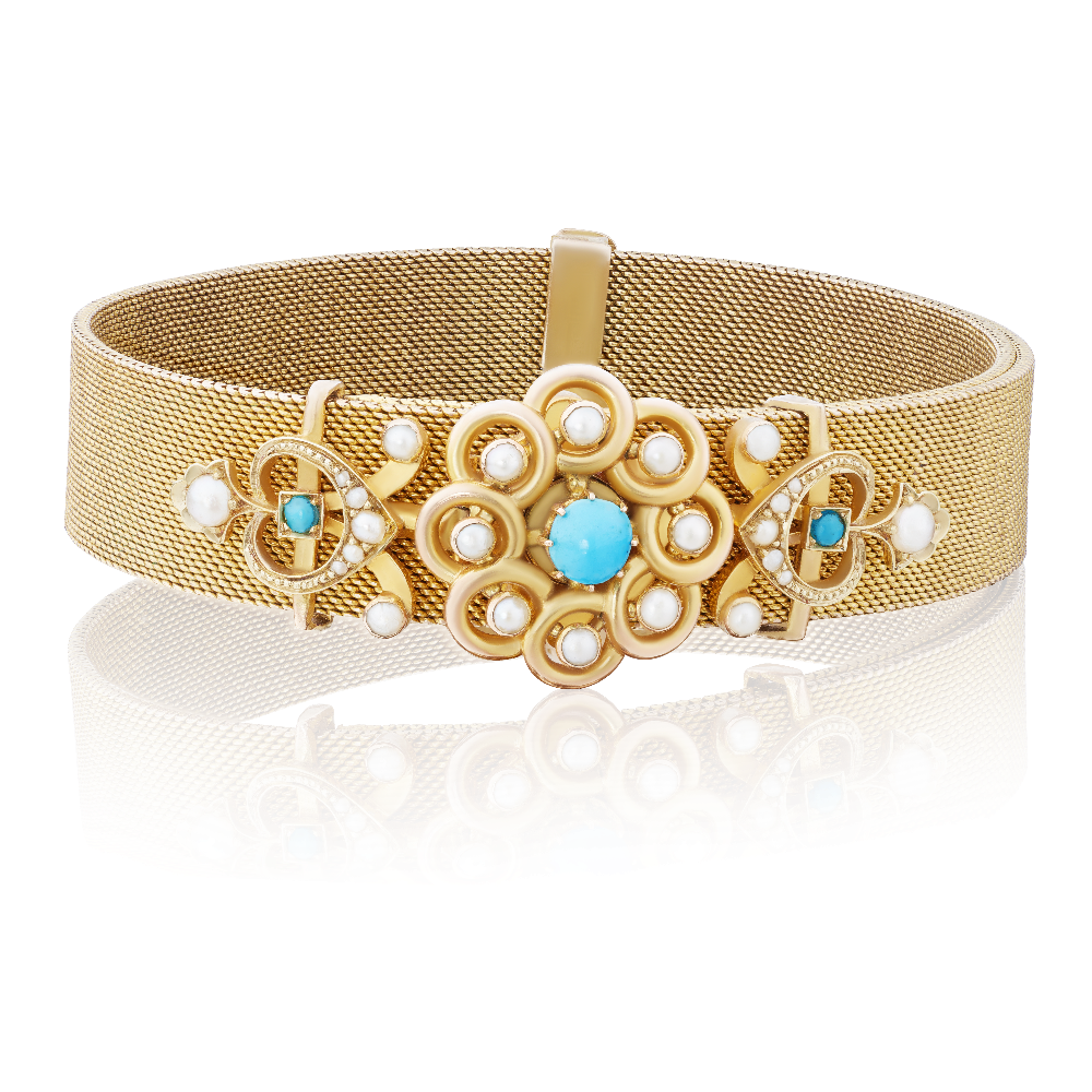 Turquoise and Seed Pearl Expandable Gold Mesh Bracelet
