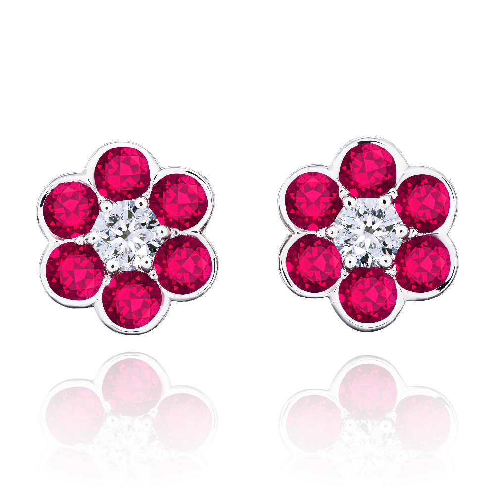 Ruby and Diamond Daisy Earrings