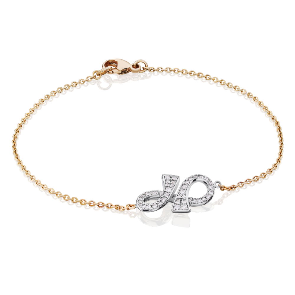 'GC' Collection Diamond Set Infinity Chain Bracelet