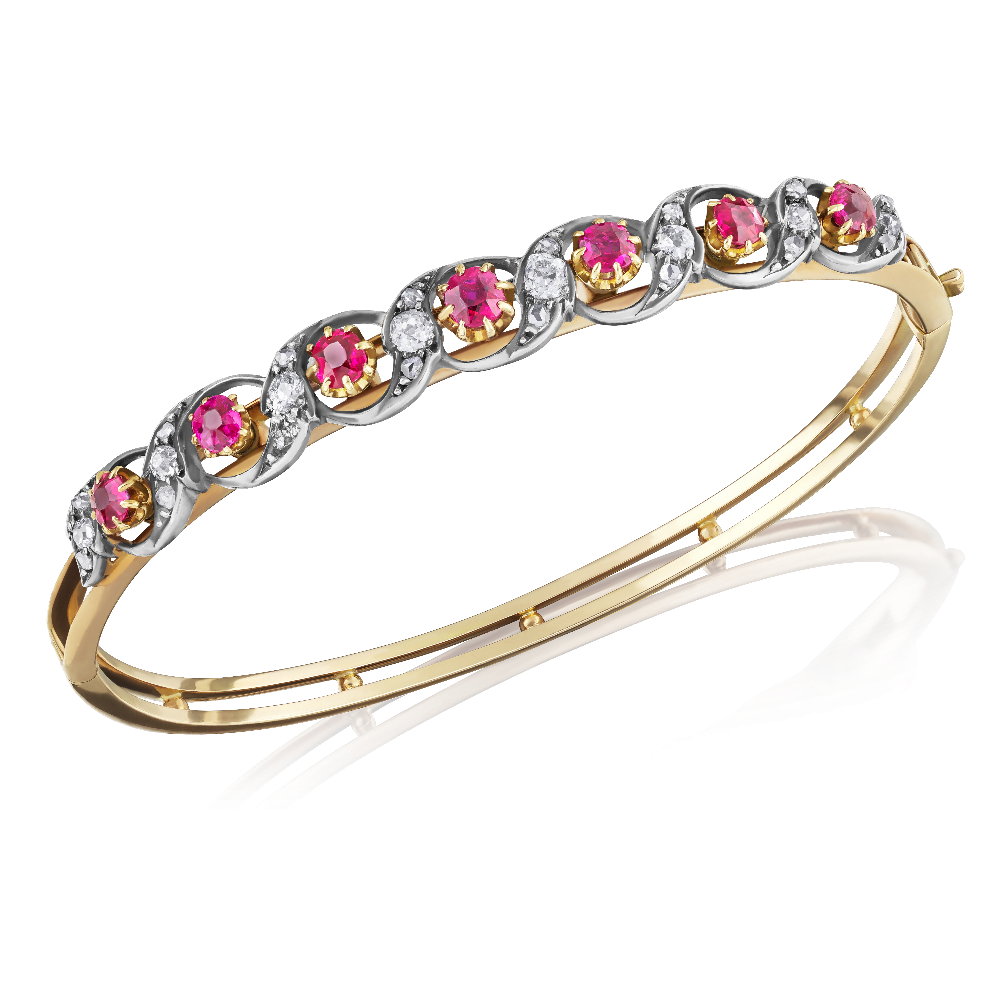 Ruby and Diamond Wave Bangle