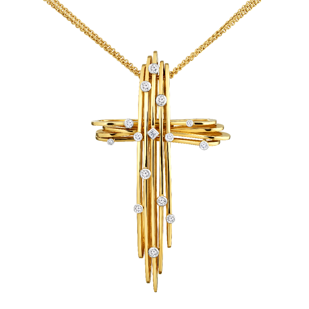 Hulchi Belluni 18ct Yellow Gold, Diamond Set Cross Pendant