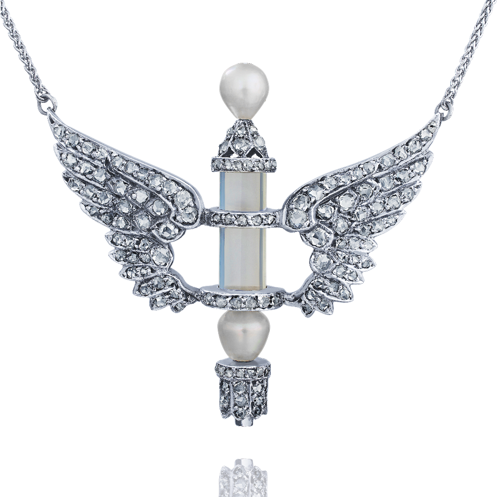 Rock Crystal, Diamond and Pearl Winged Pendant