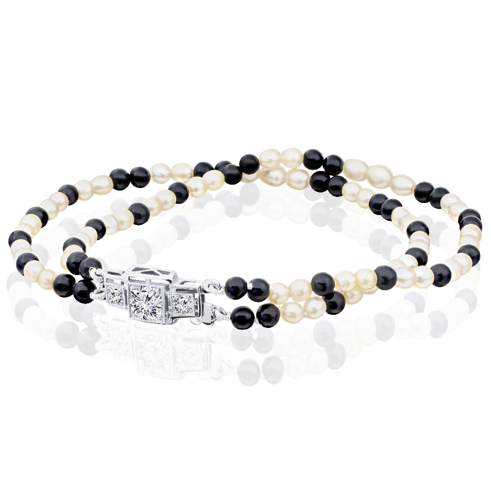 Onyx and Pearl Two Row Bracelet